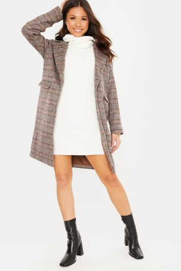 BROWN CHECKED COLLAR DETAIL COAT