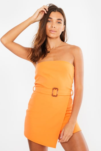 orange asymmetric wrap belted playsuit