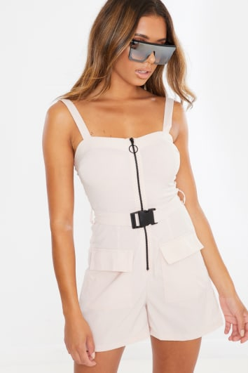 beige utility buckle belt playsuit