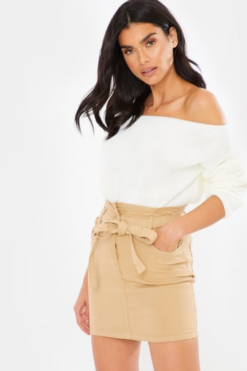 CAMEL PAPERBAG WAIST DENIM MINI SKIRT