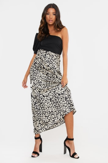 BLACK LEOPARD SATIN BELTED MAXI SKIRT