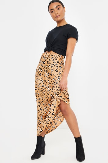 GOLD LEOPARD SATIN BELTED MAXI SKIRT