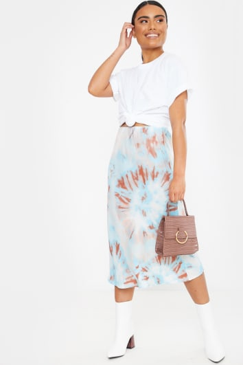 blue tie dye satin midi skirt