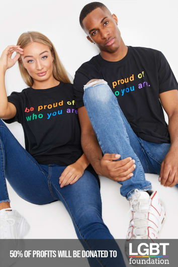 PRIDE BE PROUD OF WHO YOU ARE BLACK T SHIRT