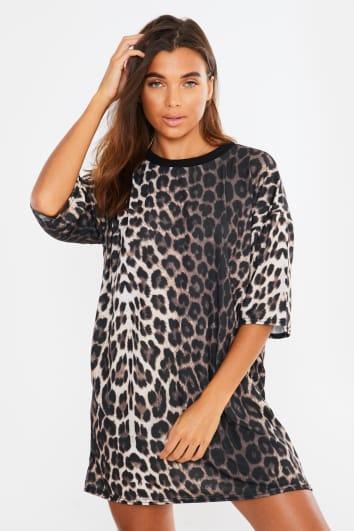 KRISHNA GREY LEOPARD T SHIRT DRESS