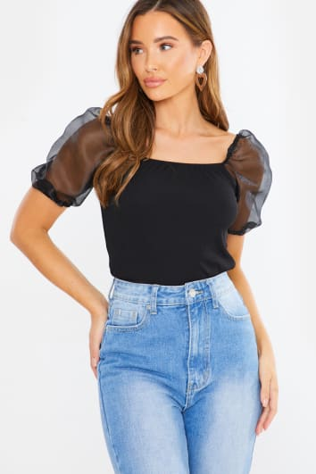 CORLETTE BLACK ORGANZA RIBBED PUFF SLEEVE CROP TOP