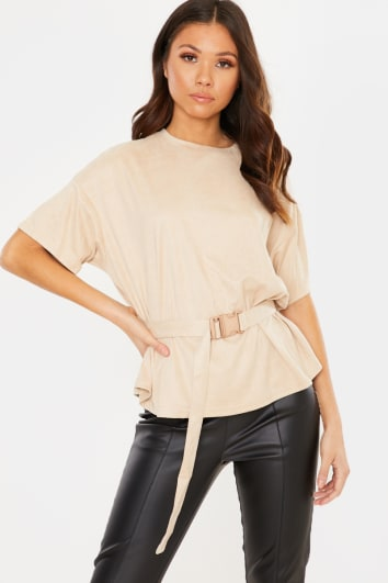 BEIGE FAUX SUEDE BUCKLE BELT DETAIL TOP