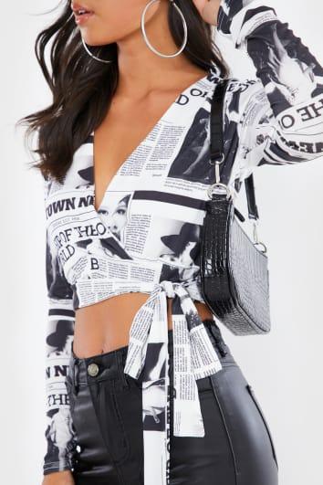 NEWSPAPER PRINT MONOCHROME CROP TIE WRAP CROP TOP