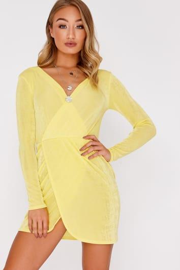 yellow slinky plunge wrap mini dress