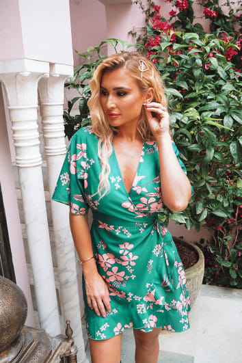 BILLIE FAIERS GREEN FLORAL PRINT WRAP TEA DRESS