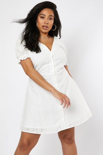 CURVE DANI DYER WHITE BRODERIE ANGLAISE BUTTON DOWN DRESS