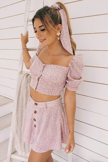 DANI DYER PINK ANIMAL PRINT CO-ORD SWING SHORTS