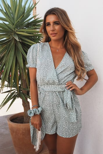 DANI DYER SAGE GREEN ANIMAL PRINT WRAP FRONT FRILL SLEEVE PLAYSUIT