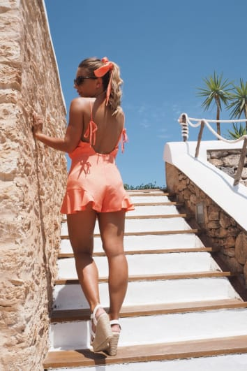 DANI DYER ORANGE TIE SHOULDER PLAYSUIT