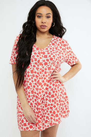 CURVE EMILY ATACK RED FLORAL PRINT V NECK SHIFT DRESS