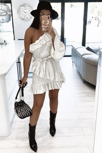 EMILY ATACK OFF WHITE FRILL ONE SHOULDER MINI DRESS