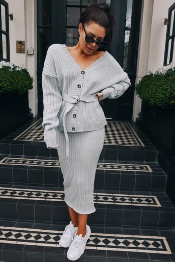 LORNA LUXE 'NO REGRETS' RIBBED GREY CO-ORD MIDI SKIRT