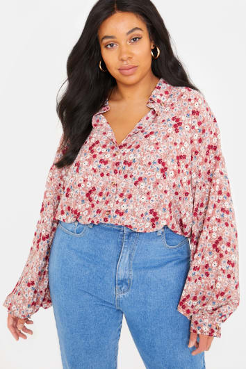 CURVE FASHION INFLUX BLUSH FLORAL OVERSIZED BALLOON SLEEVED SHIRT