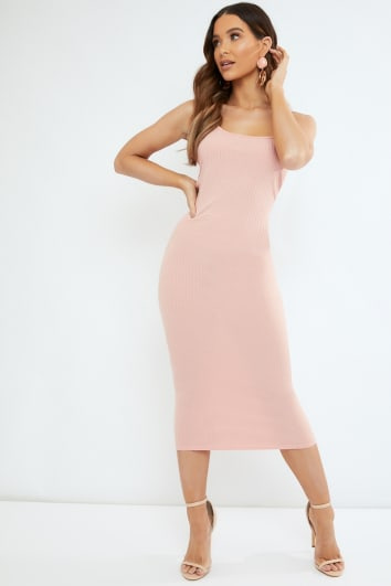 peach rib cami midi dress