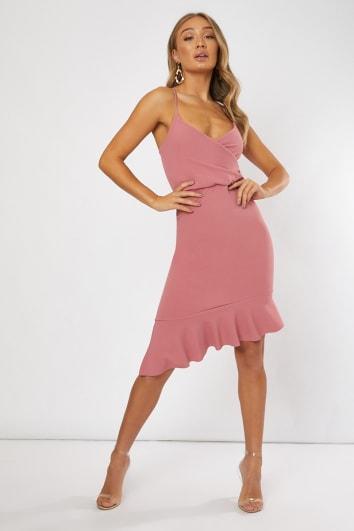 pink frill hem asymmetric midi dress