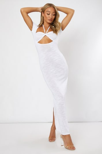 white cut out halterneck midi dress
