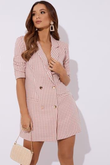 pink gingham blazer dress