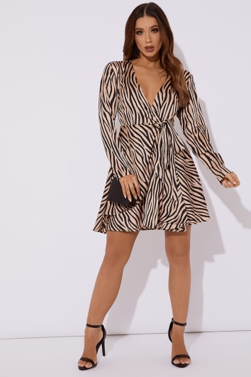 blush zebra print satin wrap front skater dress