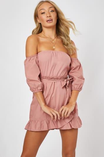 blush poplin frill bardot dress