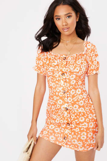 orange floral button down puff sleeve mini dress