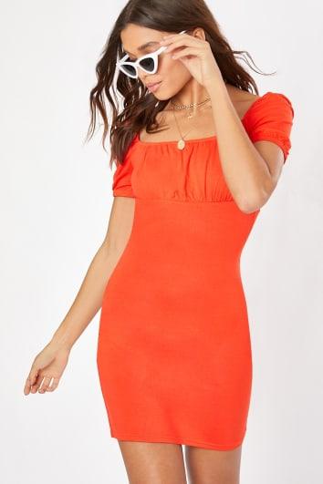 orange milkmaid dress