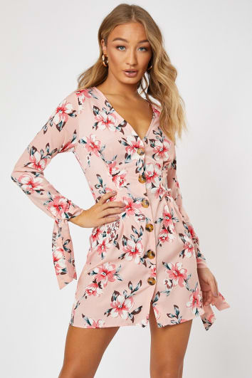 pink satin floral horn button tie sleeve mini dress