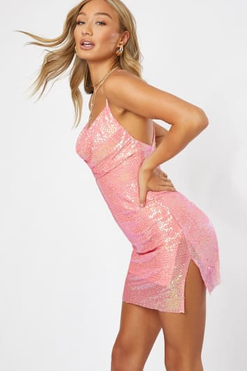 pink sequin cowl neck mini dress