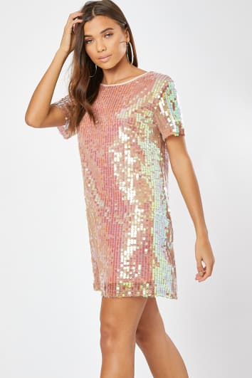 pink sequin t shirt dress