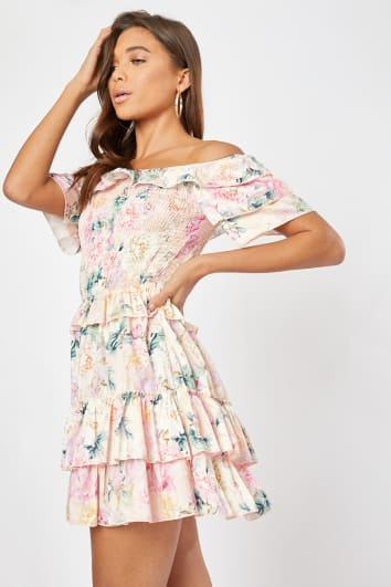 RILINA PINK FLORAL SHIRRING DETAIL MULTI FRILL BARDOT DRESS