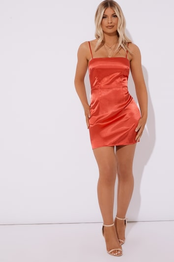 red square neck satin cami mini dress