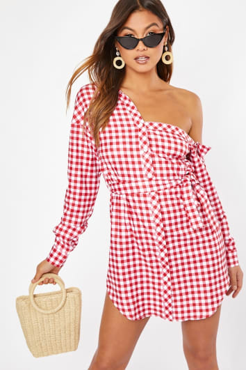 red gingham asymmetric shirt dress