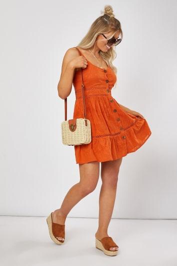rust button front lace trim mini dress