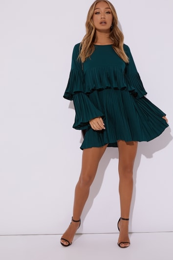 teal pleated mini dress