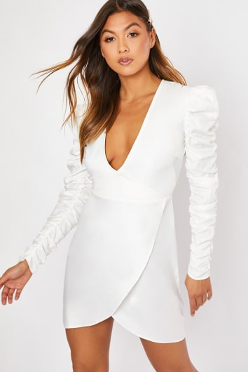 white ruched sleeve wrap front mini dress