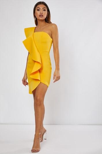 yellow one shoulder frill mini dress
