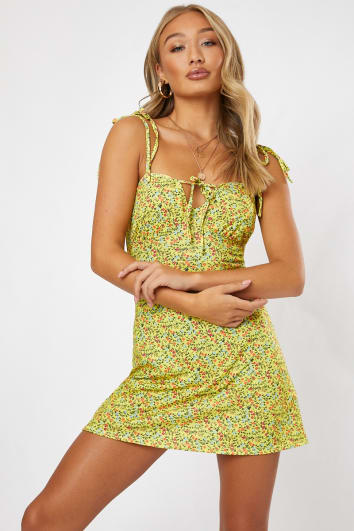 NONAH YELLOW FLORAL JERSEY A LINE MINI DRESS