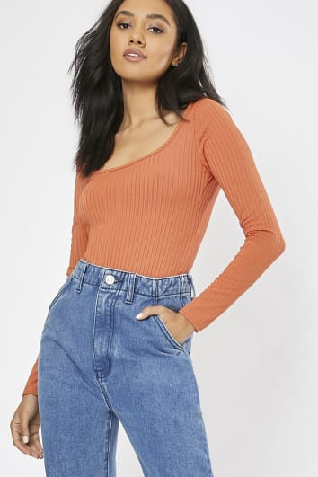 OHMARNI BURNT ORANGE RIBBED EXTREME SCOOP BACK BODYSUIT