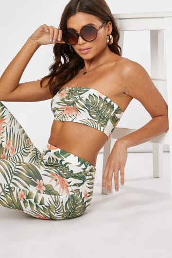 white tropical print bandeau co-ord crop top