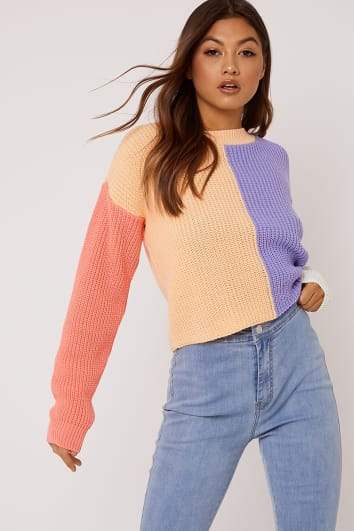 orange colour block crew neck jumper