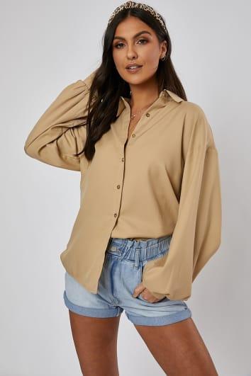 stone oversized balloon sleeve shirt
