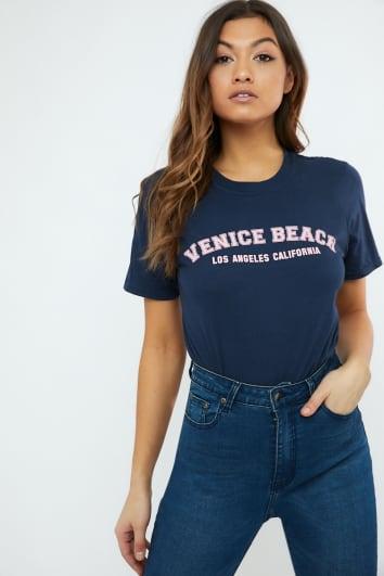 NAVY VENICE BEACH SLOGAN T SHIRT