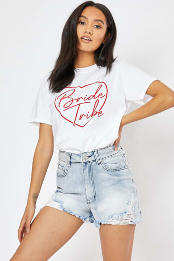 BRIDE TRIBE WHITE SLOGAN T SHIRT