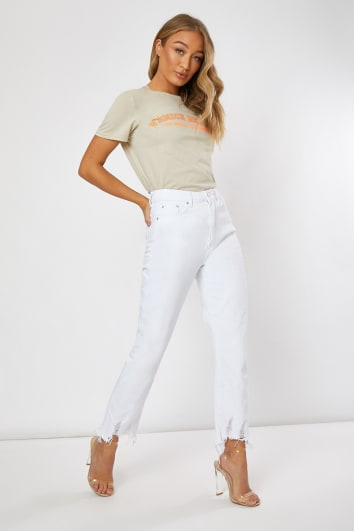 white ankle grazer mom jeans