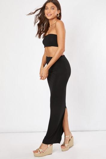 black co-ord maxi skirt