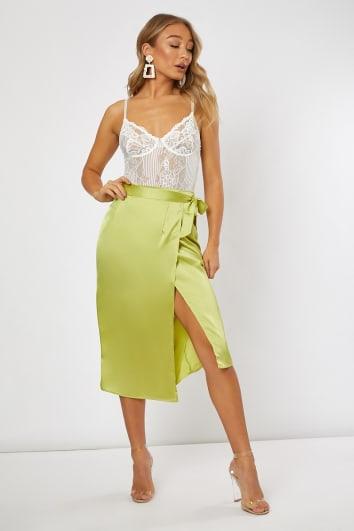 lime satin split skirt